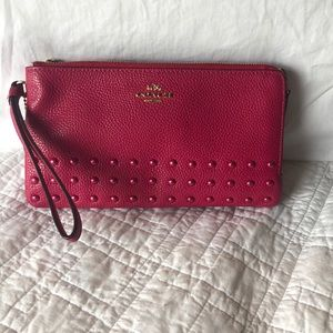 COACH Double Zip Wristlet with Rivets